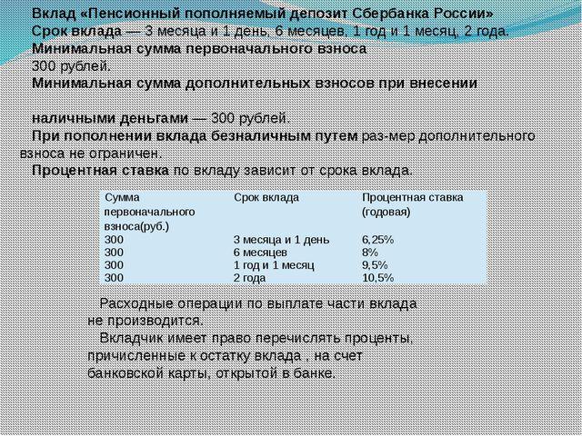 Вклад «Пенсионный пополняемый депозит Сбербанка России» Срок вклада — 3 месяц...