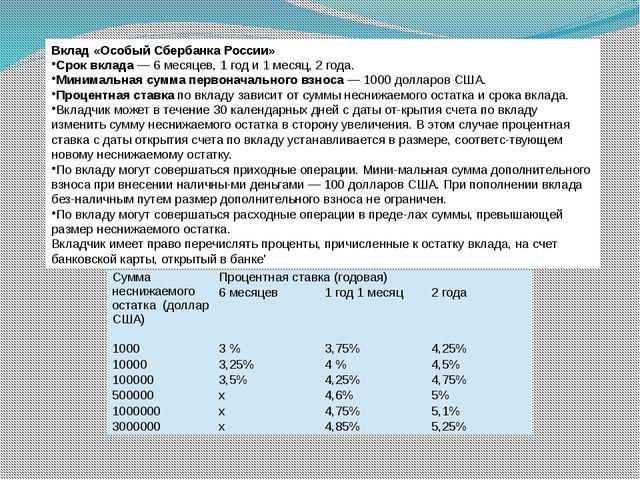 Вклад «Особый Сбербанка России» Срок вклада — 6 месяцев, 1 год и 1 месяц, 2 г...