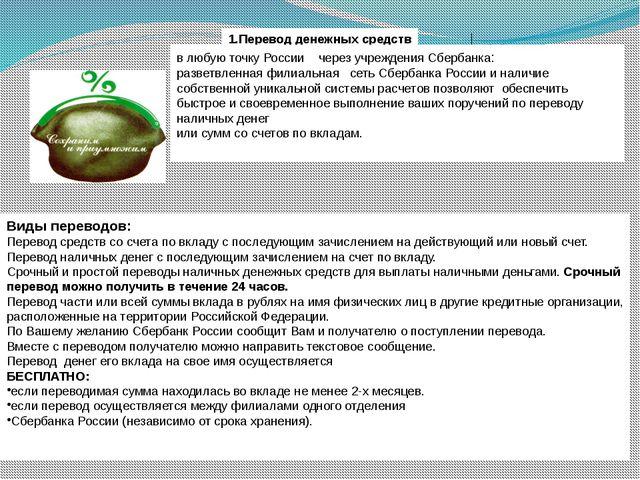 1.Перевод денежных средств в любую точку России через учреждения Сбербанка:...