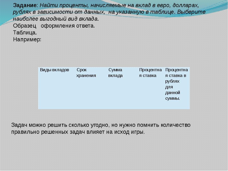 Задание: Найти проценты, начисляемые на вклад в евро, долларах, рублях в зави...