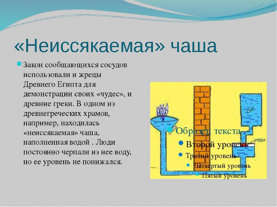 «Неиссякаемая» чаша Закон сообщающихся сосудов использовали и жрецы Древнего...