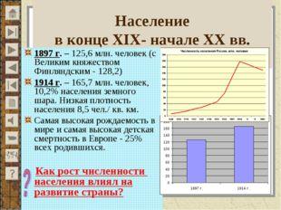 Население в конце XIX- начале XX вв. 1897 г. – 125,6 млн. человек (с Великим