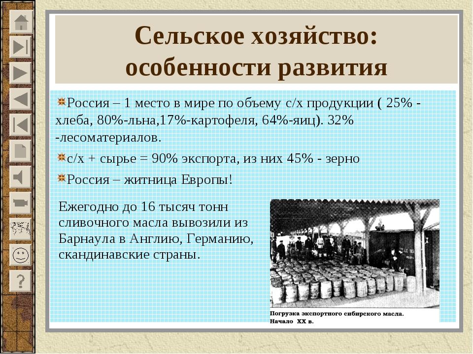Сельское хозяйство: особенности развития Россия – 1 место в мире по объему с/...
