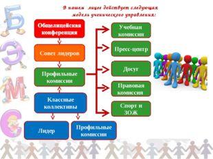 В нашем лицее действует следующая модель ученического управления: Совет лидер