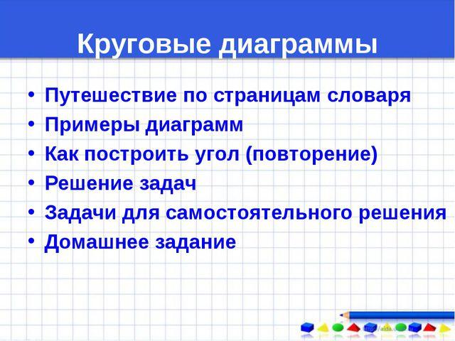 Круговые диаграммы Путешествие по страницам словаря Примеры диаграмм Как пост...