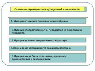 Основные характеристики мутационной изменчивости 1. Мутации возникают внезап