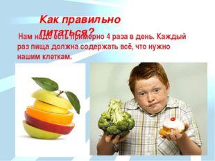 Как правильно питаться? Нам надо есть примерно 4 раза в день. Каждый раз пища