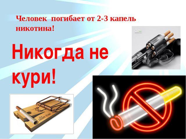 Человек погибает от 2-3 капель никотина! Никогда не кури!