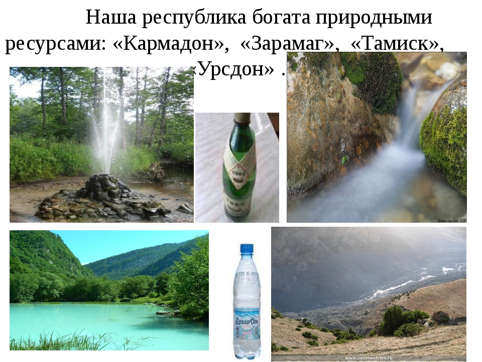 Наша республика богата природными ресурсами: «Кармадон», «Зарамаг», «Тамиск»...