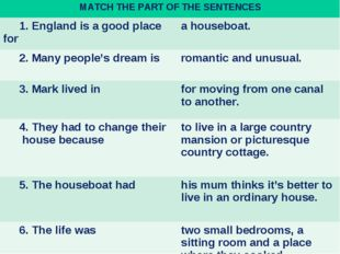 MATCH THE PART OF THE SENTENCES 1. England is a good place for a houseboat.