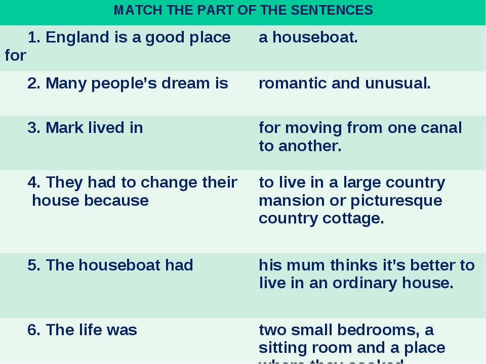 MATCH THE PART OF THE SENTENCES	 1. England is a good place for 	a houseboat....