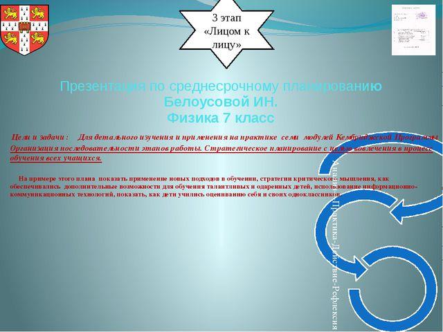 3 этап «Лицом к лицу» Презентация по среднесрочному планированию Белоусовой И...