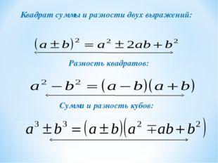 Квадрат суммы и разности двух выражений: Разность квадратов: Сумма и разность