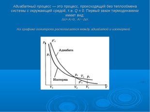Адиабатный процесс— это процесс, происходящий без теплообмена системы с окру