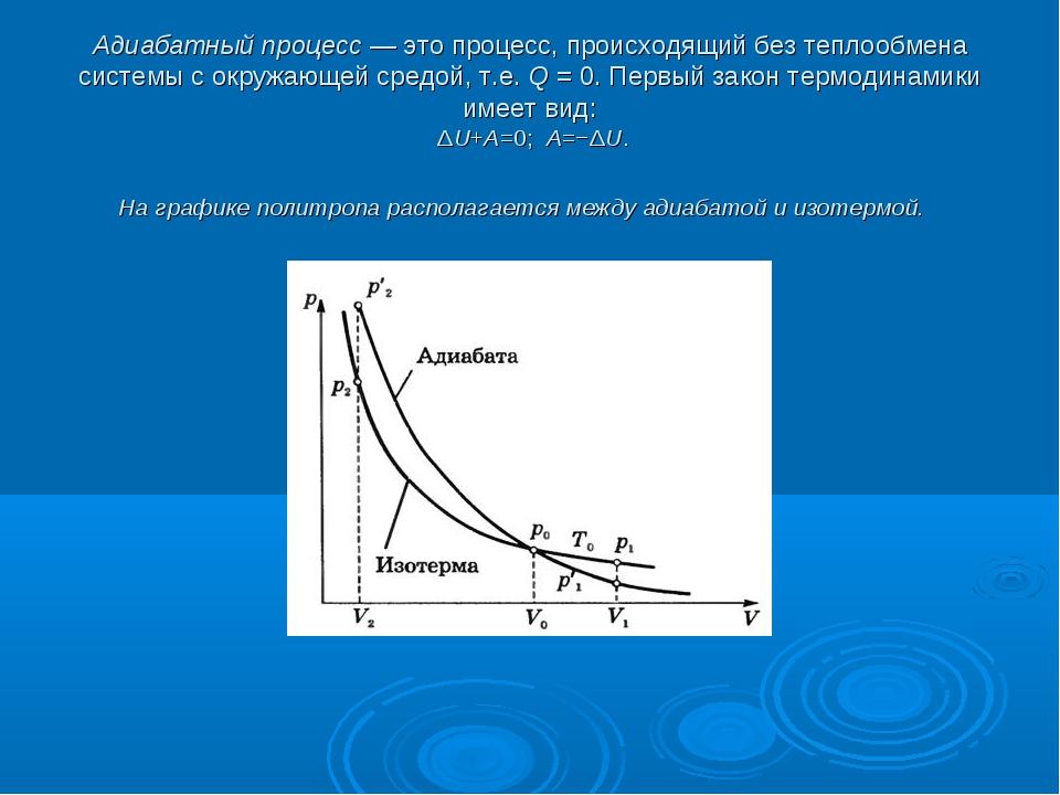 Адиабатный процесс— это процесс, происходящий без теплообмена системы с окру...