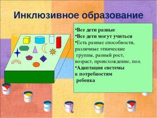 Инклюзивное образование Все дети разные Все дети могут учиться Есть разные сп