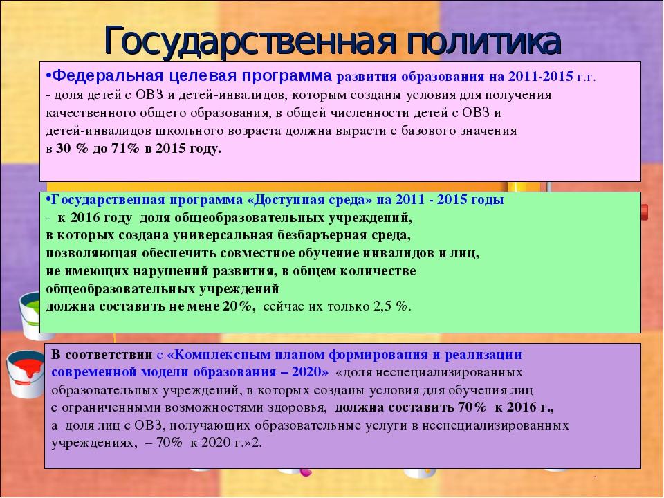 Государственная политика Федеральная целевая программа развития образования н...