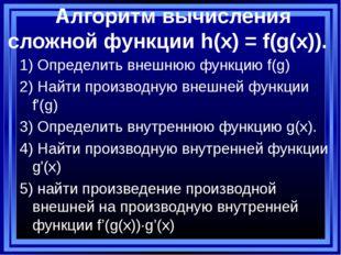 Алгоритм вычисления сложной функции h(x) = f(g(x)). 1) Определить внешнюю фу