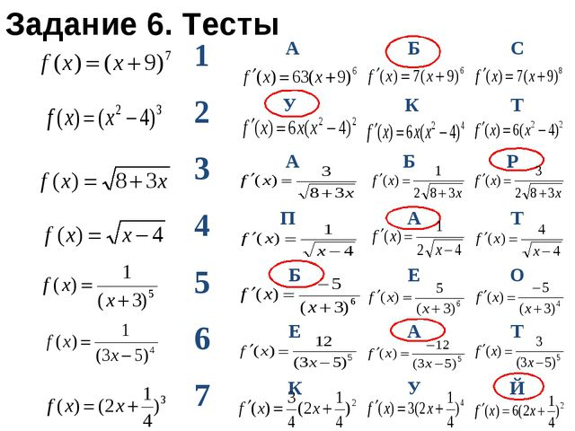 Задание 6. Тесты 1А БС 2У К Т 3А Б Р 4П АТ 5БЕО 6ЕАТ 7КУЙ