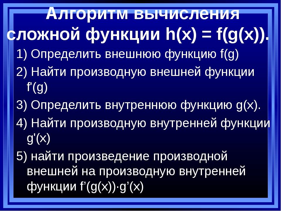 Алгоритм вычисления сложной функции h(x) = f(g(x)). 1) Определить внешнюю фу...
