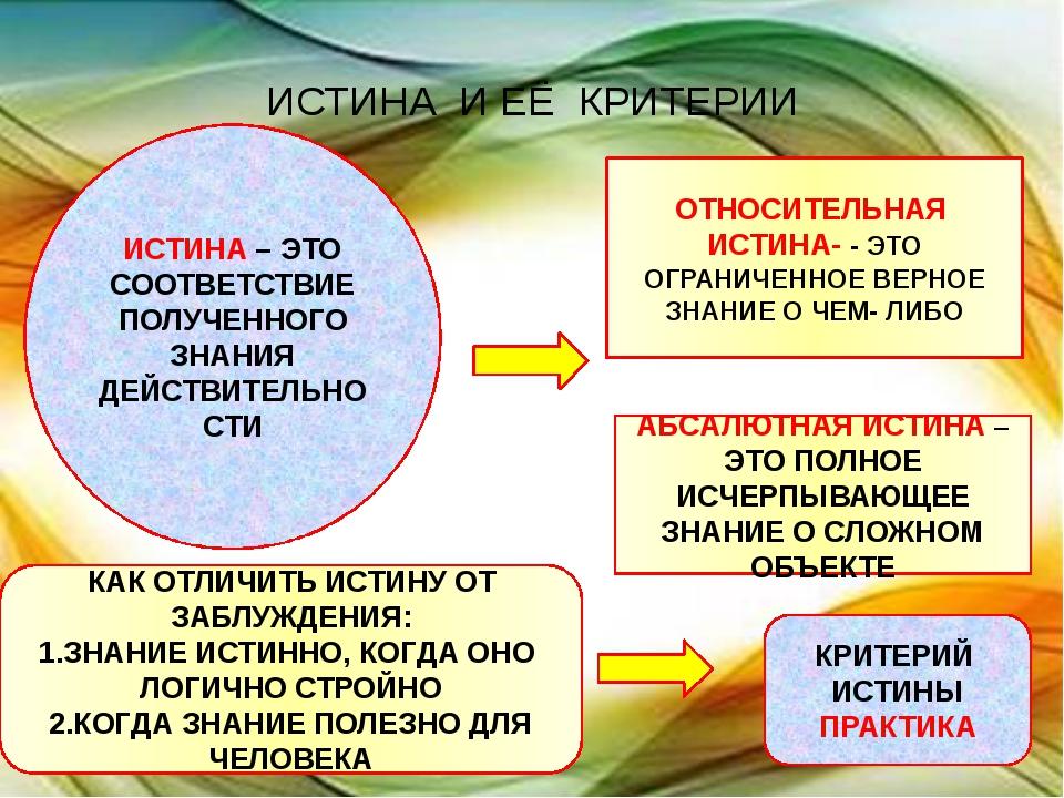 ИСТИНА  И ЕЁ  КРИТЕРИИ