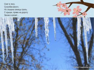 Снег в лесу. Сугробов много. Но слышна синицы трель. С крыши, прямо на дорогу