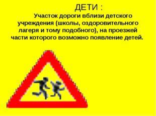 ДЕТИ : Участок дороги вблизи детского учреждения (школы, оздоровительного ла
