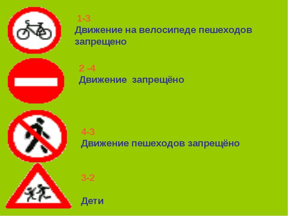 1-3 Движение на велосипеде пешеходов запрещено 2 -4 Движение запрещёно 4-3 Д...