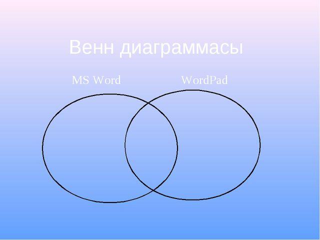 Венн диаграммасы MS Word WordPad
