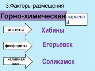 3.Факторы размещения Горно-химическая сырьевой апатиты фосфориты калийная сол