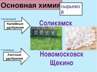 Основная химия сырьевой Калийные удобрения Новомосковск Щекино Соликамск Азот