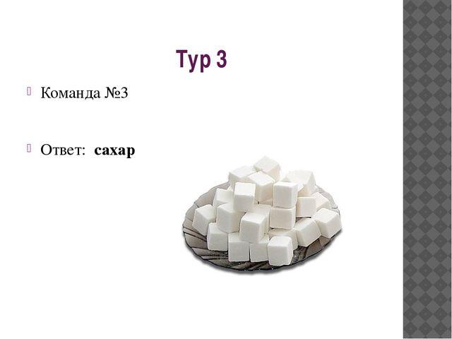 Тур 3 Команда №3 Ответ: сахар