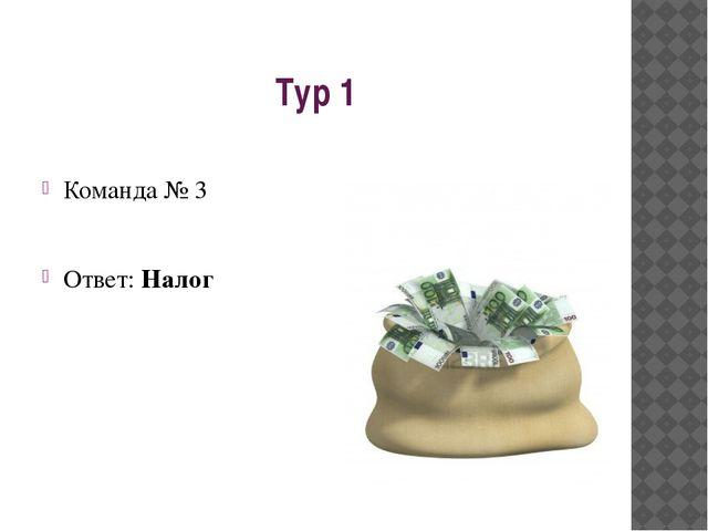 Тур 1 Команда № 3 Ответ: Налог