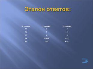 № заданияI вариантII вариант А123 А231 А343 В12541311212 В2142345