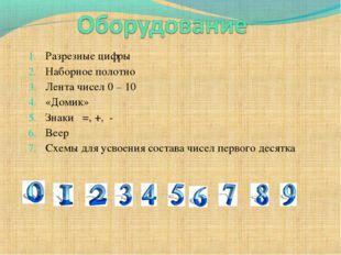 Разрезные цифры Наборное полотно Лента чисел 0 – 10 «Домик» Знаки =, +, - Вее