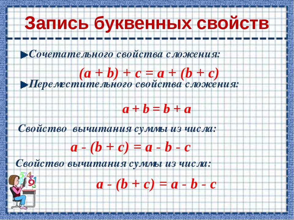 Запись буквенных свойств Сочетательного свойства сложения: Переместительного...