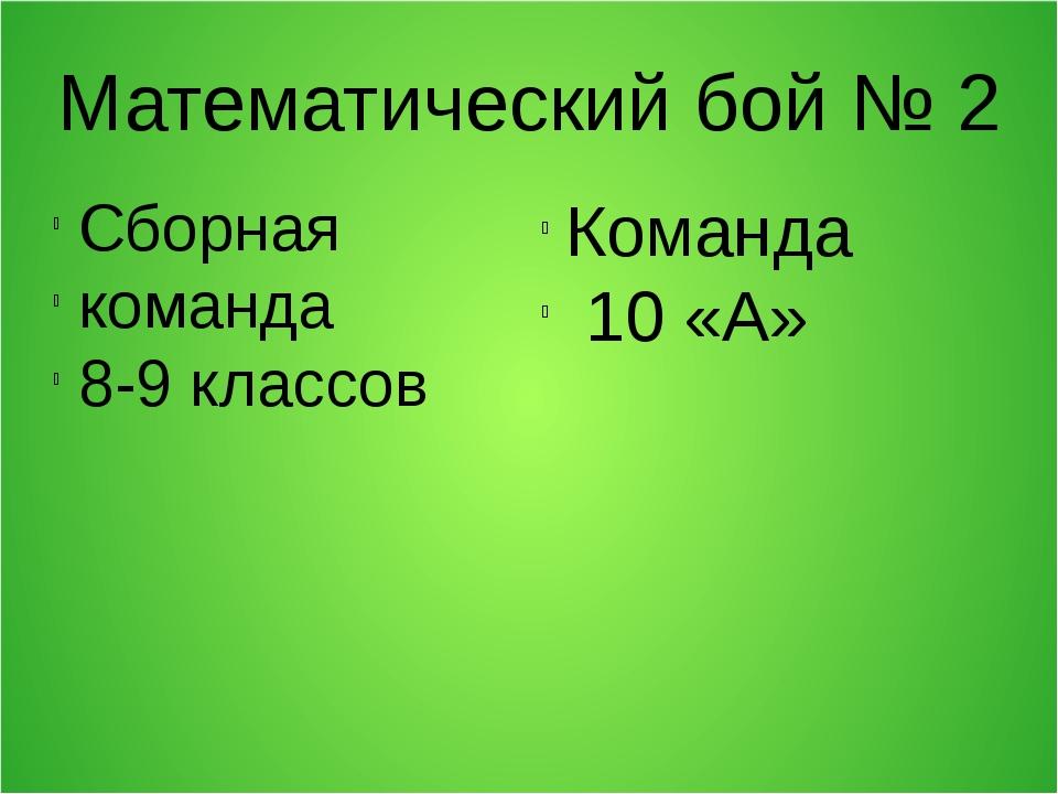 Математический бой № 2 Сборная команда 8-9 классов Команда 10 «А»