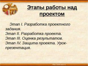Этапы работы над проектом Этап I. Разработка проектного задания. Этап II. Раз