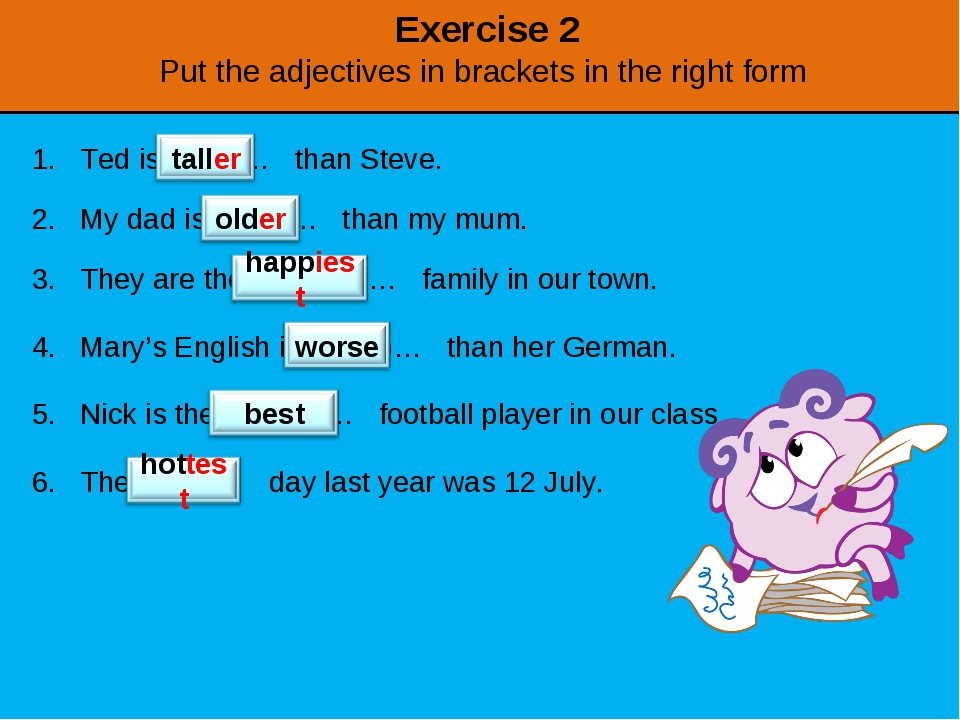 Exercise 2 Put the adjectives in brackets in the right form Ted is (tall)… th...