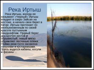 Река Иртыш Река Иртыш, иногда ее называют «Черный» Иртыш впадает в озеро Зайс