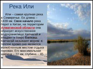 Река Или Или – самая крупная река в Семиречье. Ее длина – 1439 км. Свое начал