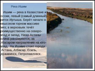 Река Ишим Ишим — река в Казахстане и России, левый (самый длинный) приток Ирт