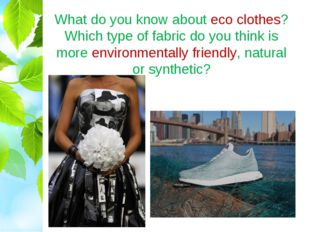 What do you know about eco clothes? Which type of fabric do you think is more