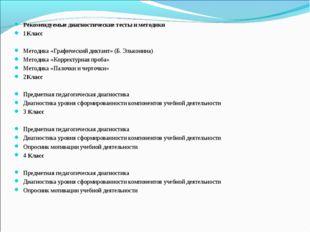 Рекомендуемые диагностические тесты и методики 1Класс Методика «Графический