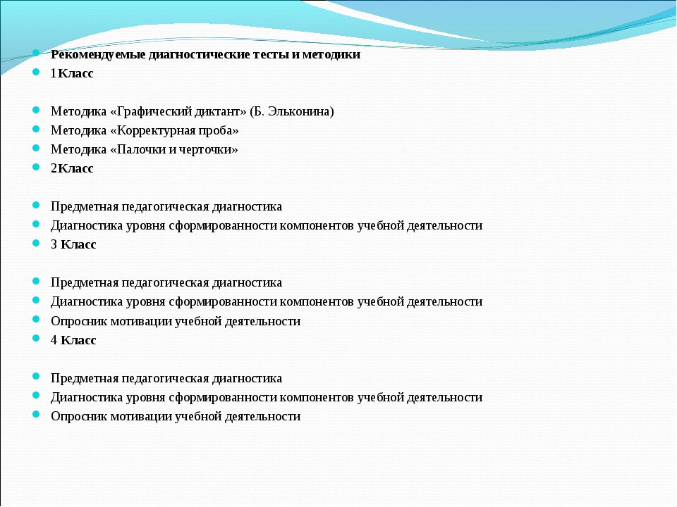 Рекомендуемые диагностические тесты и методики 1Класс Методика «Графический...