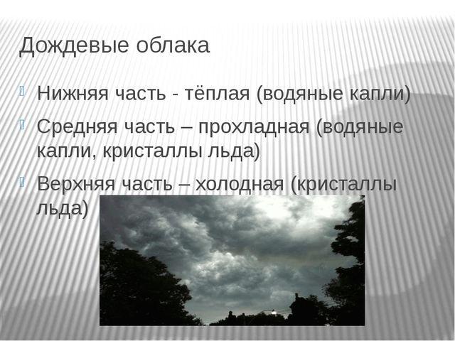Дождевые облака Нижняя часть - тёплая (водяные капли) Средняя часть – прохлад...