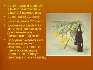 «Син» - самый длинный элемент композиции и равен 1,5 размера вазы «Соэ» равен