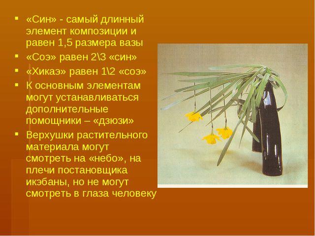 «Син» - самый длинный элемент композиции и равен 1,5 размера вазы «Соэ» равен...