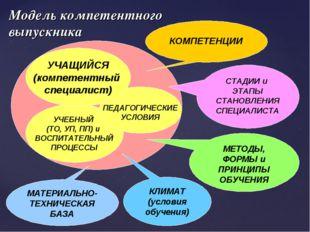 Модель компетентного выпускника УЧЕБНЫЙ (ТО, УП, ПП) и ВОСПИТАТЕЛЬНЫЙ ПРОЦЕСС