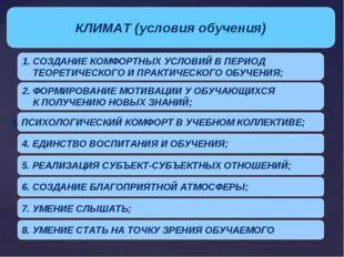 КЛИМАТ (условия обучения) 1. СОЗДАНИЕ КОМФОРТНЫХ УСЛОВИЙ В ПЕРИОД ТЕОРЕТИЧЕСК